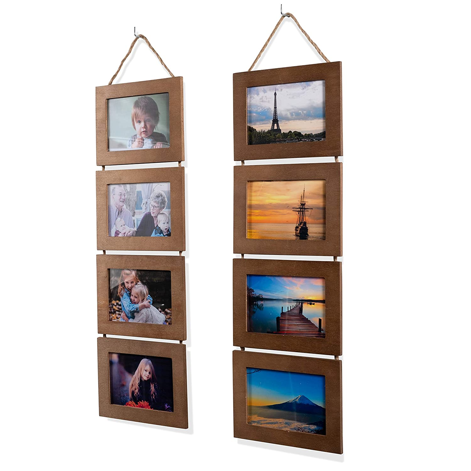Wallniture Wood Photo Collage Picture Frame Walnut Finish Total 8 Opening for 4x6 Inch Photos Wall Mountable Ready to Hang Vertical Gallery Décor