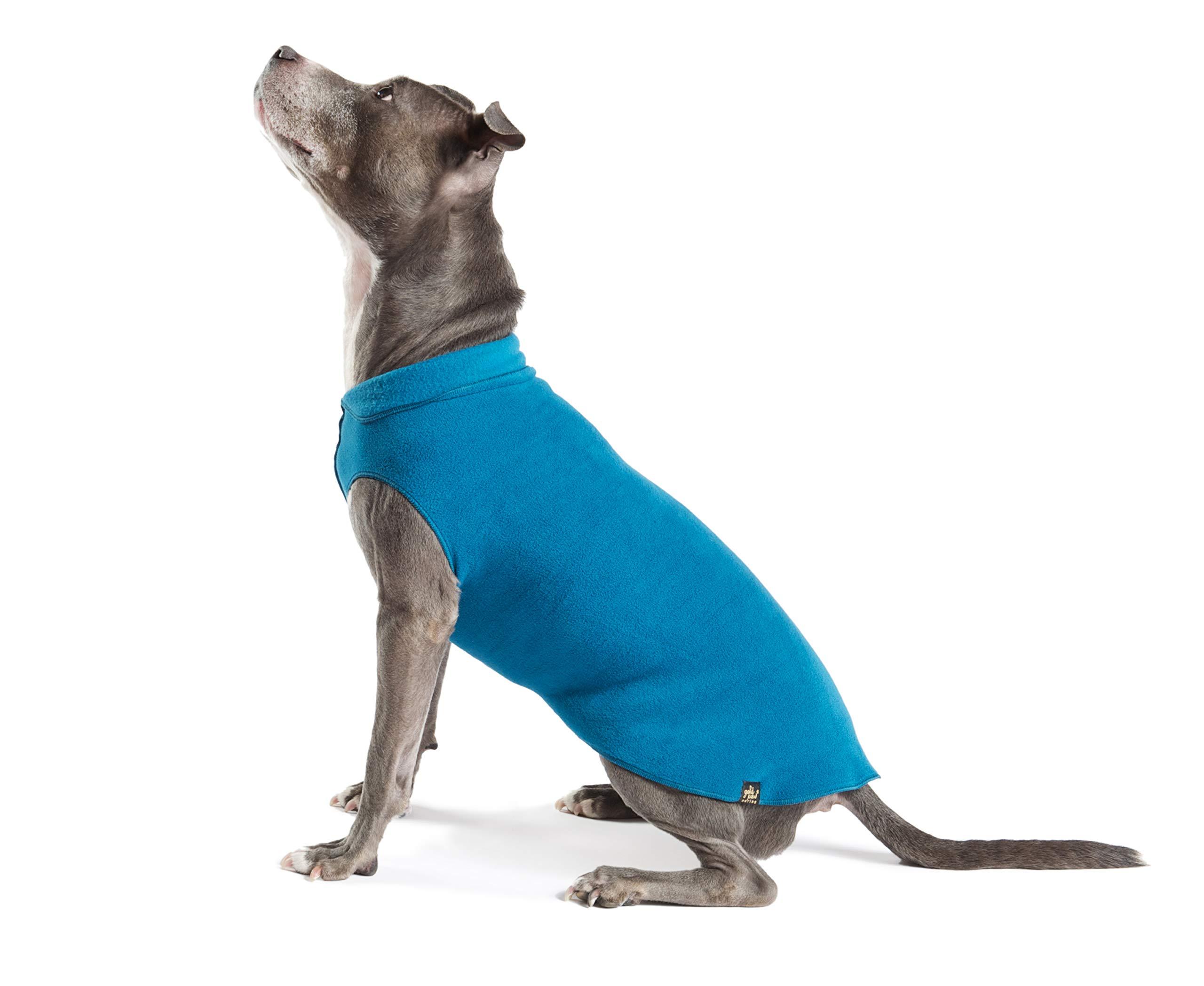 Gold Paw Stretch Fleece Dog Coat - Soft, Warm Dog Clothes, Stretchy Pet Sweater - Machine Washable, Eco Friendly - All Season, Marine Blue, Size 22 by Gold Paw