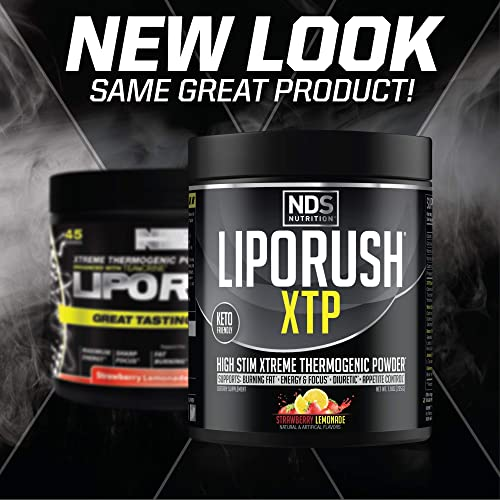NDS Nutrition LipoRush XTP - Extreme Thermogenic Fat Burning Powder Enchanced with L-Carnitine and Teacrine - Maximum Energy, Sharp Focus, Appetite Control - Strawberry Lemonade 45 Servings