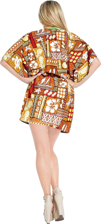 LA LEELA Bikini wear Swimsuit Beach Cardigan Cover Up Women Summer Dress Printed