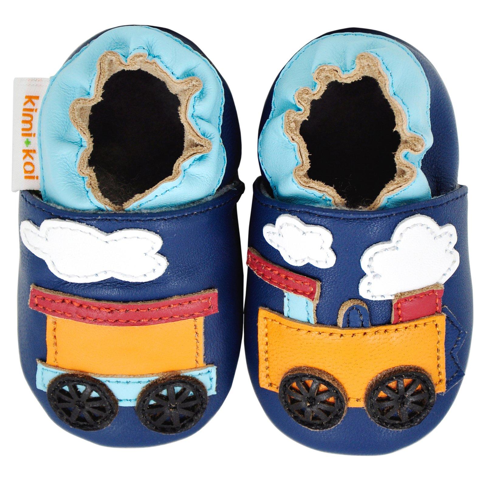 Kimi + Kai Baby Boys Lambskin Leather Soft Sole Shoes - Train (6-12 Months) Navy by Kimi & Kai