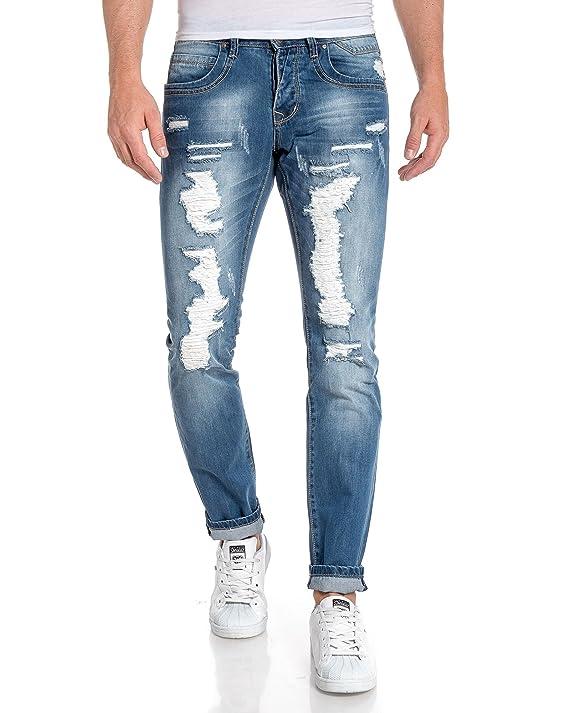 BLZ jeans - Jeans blau Mann wurde mit Licht Fading gerissen - Color: Blau,  Size: FR 48 US 38: Amazon.de: Bekleidung