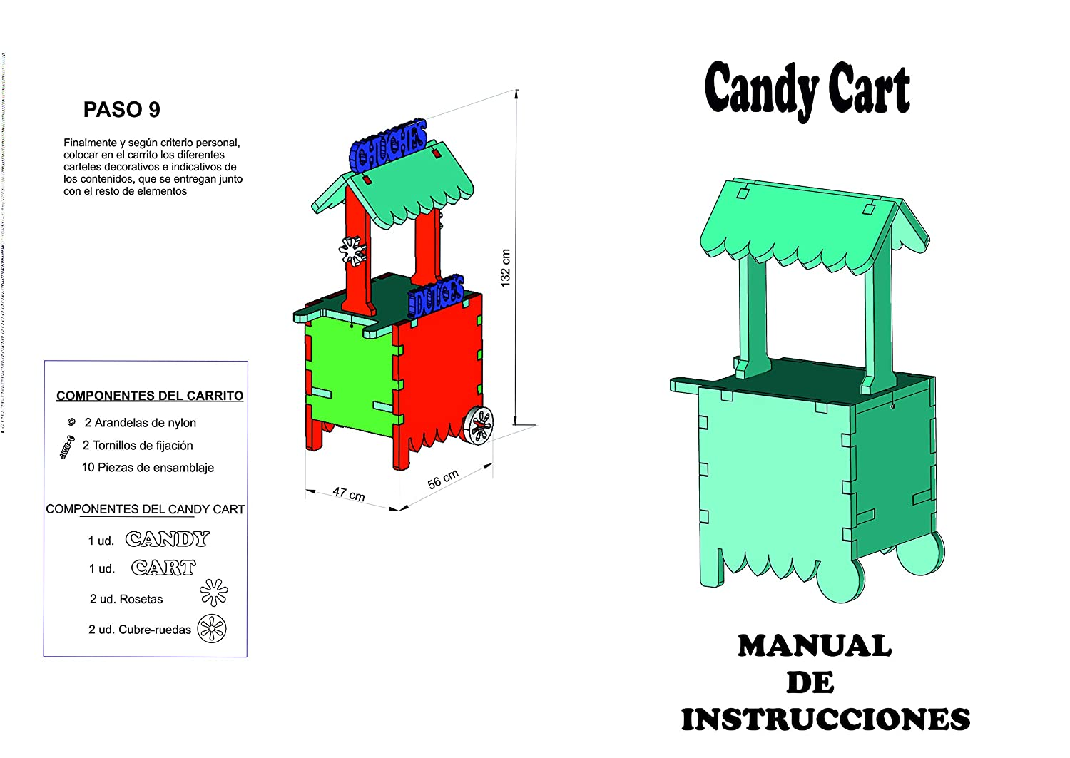 CARRITO DE CHUCHES Candy Cart Happy Birthday Azul.para Decorar.Reutilizable,Medidas 132CMS(Alto) X56CMS(Largo) X47CMS(Fondo) Fabricado en Material XPS ...