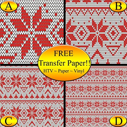 Amazon Red Snowflake Knit Pattern Printed Heat Transfer Vinyl