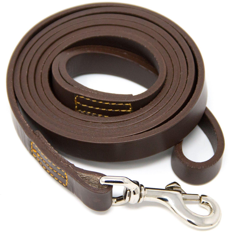 Hero Leather Genuine Full Grain Leather Training Leash - 6 Foot (Brown)