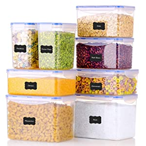 ME.FAN Food Storage Containers [Set of 8] Airtight Storage Keeper with 24 Chalkboard labels Ideal for Cereal, Sugar, Flour, Baking Supplies - BPA Free - Clear Plastic with Blue Lids