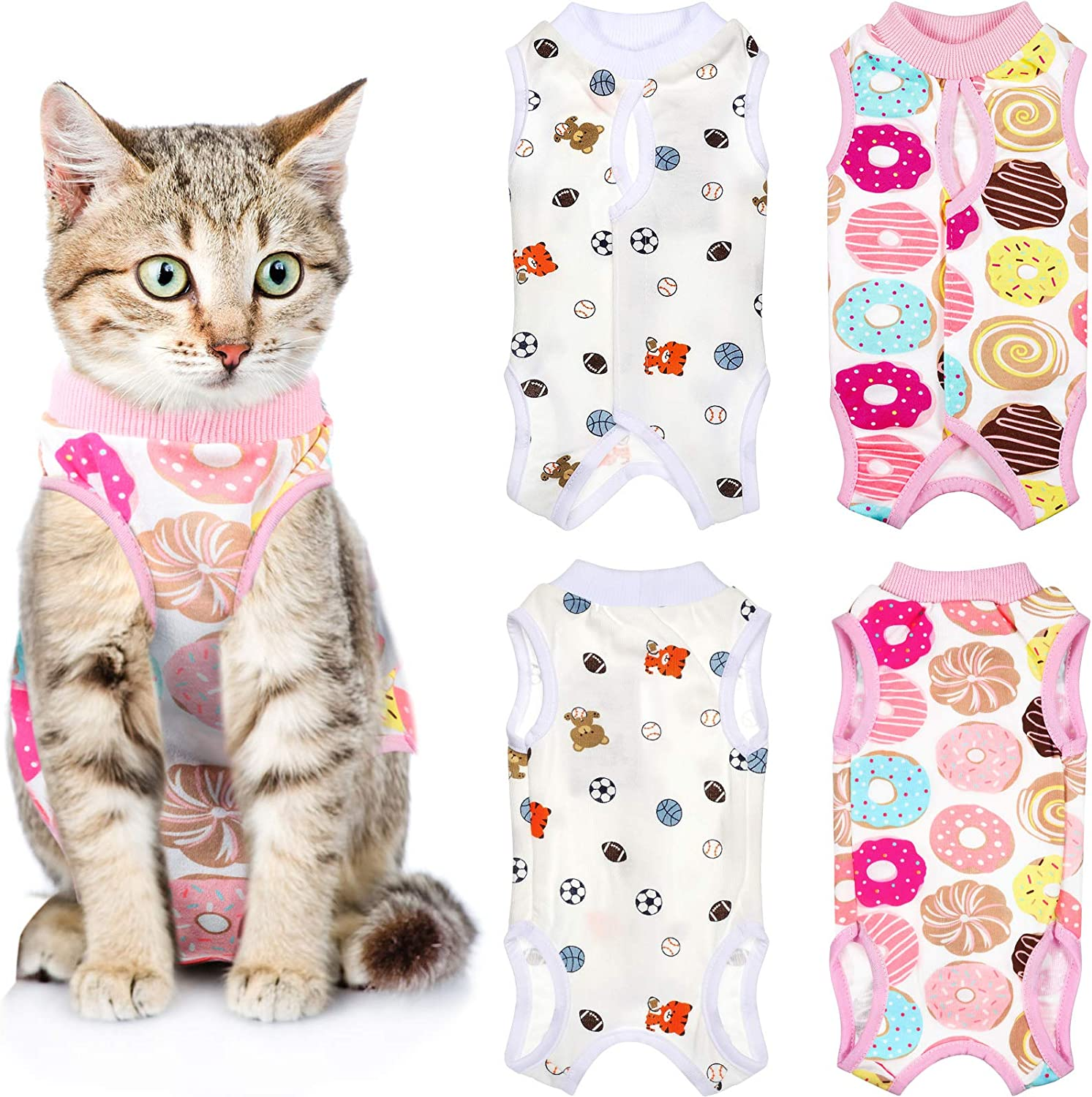 Weewooday 2 Pieces Kitten Cat Recovery Suit Soft Breathable Kitten Recovery Shirt Prevent Licking Skin Abdomen Recovery Collar Alternative for Cats Dogs Kitten