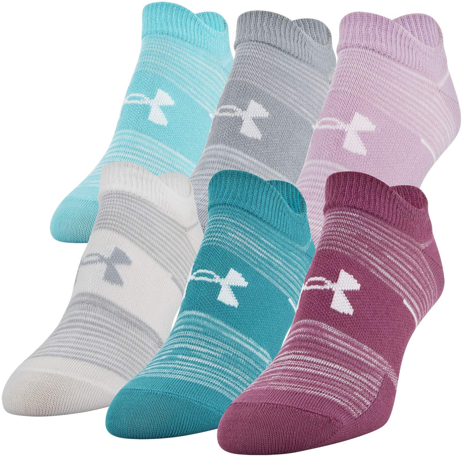 Under Armour Essential No Show Socks, 6-Pair, Pink Quartz Stripe Assorted, Shoe Size: Womens 6-9 by Under Armour