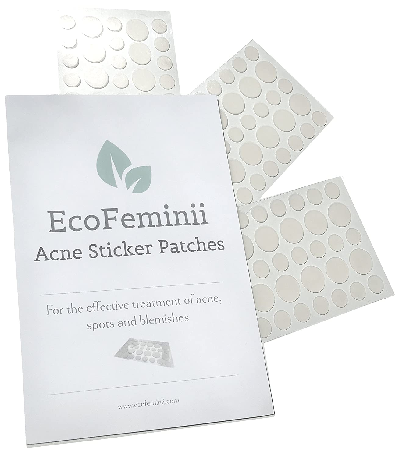 EcoFeminii Targeted Spot, Pimple & Blemish Treatment Acne Patches - 108 Count (3 Sheets) - Absorbing Hydrocolloid Covers for Quick Spot Repair - See-through Dots for Blemishes - Natural and Effective on Oily or Combination Skin - Discreet and Transpare