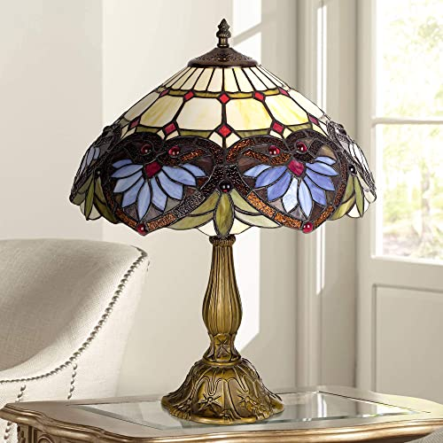 Traditional Accent Table Lamp Metal Leaf Base Heart Motif Stained Antique Art Glass Shade for Living Room Family – Robert Louis Tiffany