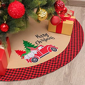 """Zhenrui 42"""" Burlap Christmas Tree Skirt with Red and Black Plaid Border, Gnome Tree Skirt Farmhouse Style, Great for Christmas Tree Decoration Party Holiday and Home Decor"""