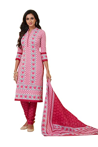 0d74c13cf72 Roha Fab 100% Cotton Dark Pink Blue White Designer Combination Salwar Suit  Dress Material For Girls Women  Amazon.in  Clothing   Accessories