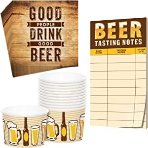 Beer Tasting Score Sheet Notes, Snack Cups, and Beverage Napkins (Serves 12)