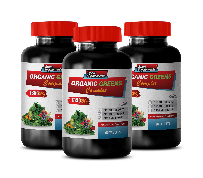 Cholesterol reducing Supplements - Organic Greens Complex 1350MG - Premium Dietary Supplement - Raspberry Organic Vitamins - 3 Bottles 180 Tablets