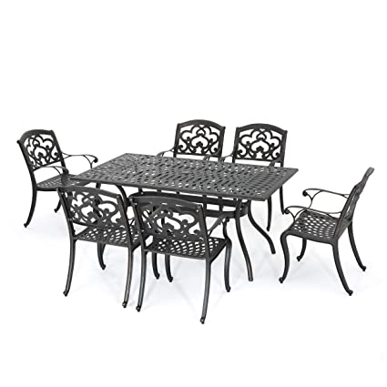amazon com gdf studio augusta 7 piece cast aluminum outdoor rh amazon com