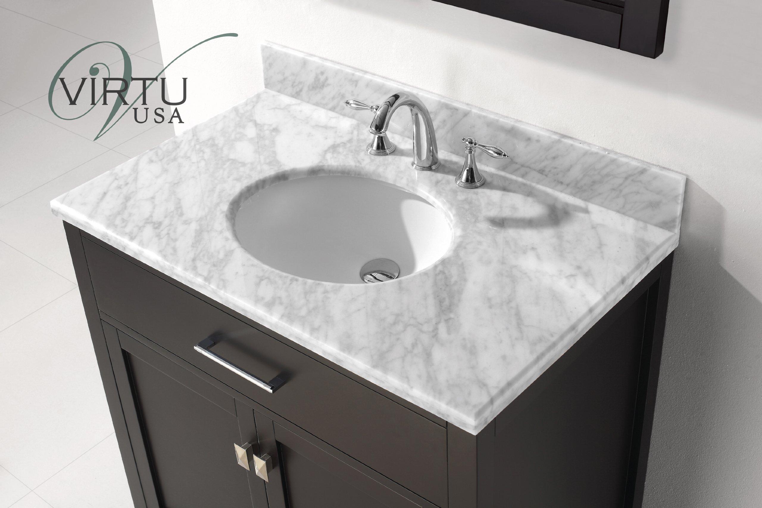 Virtu USA MS-2036-WMRO-ES Caroline 36-Inch Bathroom Vanity with Single Round Sink in Espresso and Italian Carrera White Marble by Virtu USA
