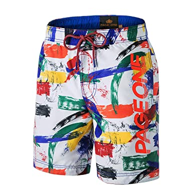 03d4f44acc PAGE ONE Mens Beach Shorts Quick Dry Surfing Swim Trunks with Full Mesh  Lining with Pockets | Amazon.com