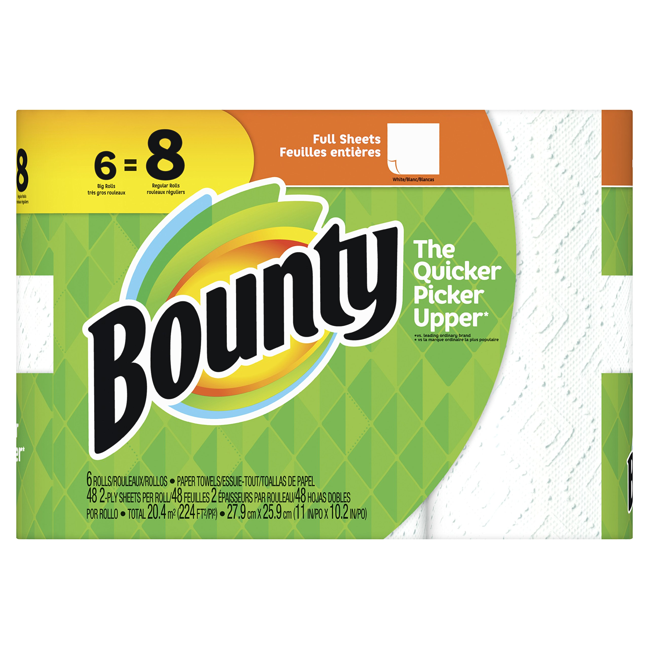 Bounty Paper Towels, White, 6 Big Rolls by Bounty