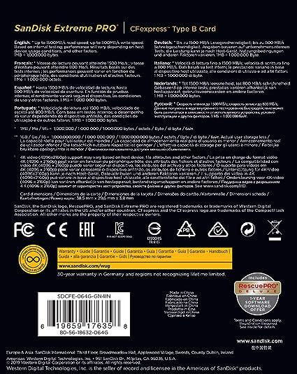 Amazon.com: SanDisk 64GB Extreme PRO CFexpress Card Type B ...
