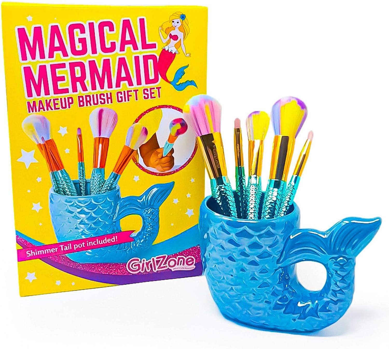 GirlZone: Fun Mermaid Makeup Brushes Kit Gift for Girls