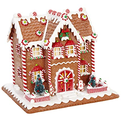 10 inch lighted colorful gingerbread house holiday decoration tabletop christmas decoration