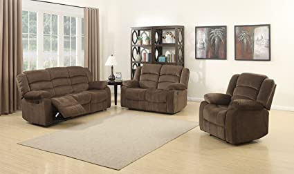 Charmant AC Pacific Bill Collection Contemporary 3Piece Living Room Upholstery Sofa  Set With 5 Recliners, Sofa
