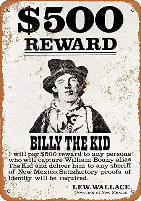 HiSign Billy The Kid Road Cartel de Pared de Chapa Retro ...