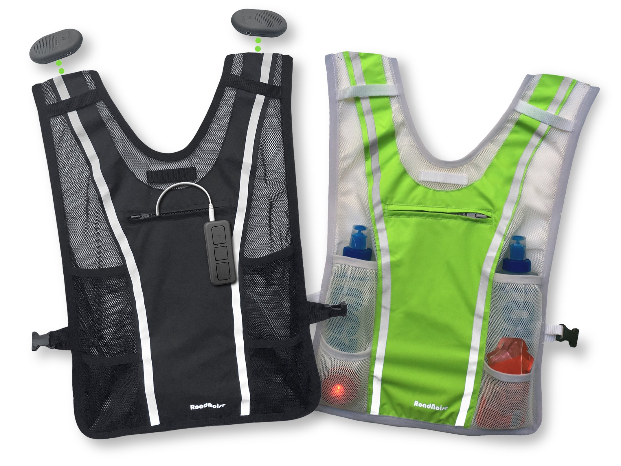 Roadnoise Long Haul Vest Running and Cycling Vest with speakers. Safer running and riding with music. (Black, X-Small/Small)