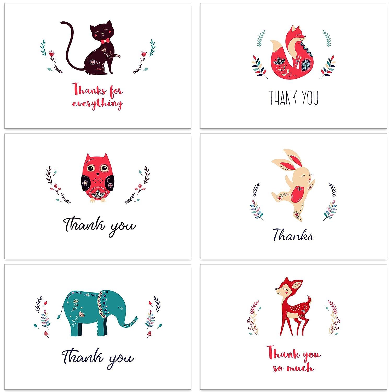 Thank You Cards with Envelopes Bulk Box Set - 56 Cards Pack - 8 Different Floral Designs - Blank Inside - 62 Brown Kraft Paper Envelopes Included Enfy