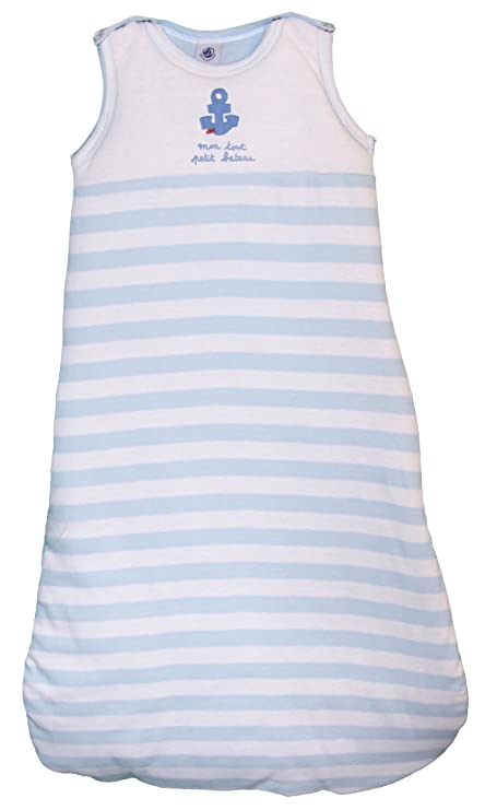 Petit Bateau – 66005 – Saco de dormir para bebé niño – rayas – azul pastel