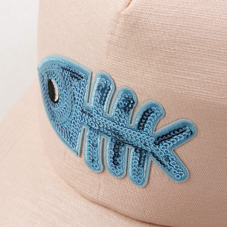 Summer Women Sequin Baseball Cap Mesh Sun Hat with Rings Girls Embroidery Fish Hip Hop Snapback Hat Dad Cap
