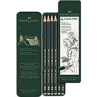 Faber-Castell 5160119063 9000 Dereceli, 6'Lı, Metal Kutu (Hb,B,2B,4B,6B,8B), Naturel/Siyah