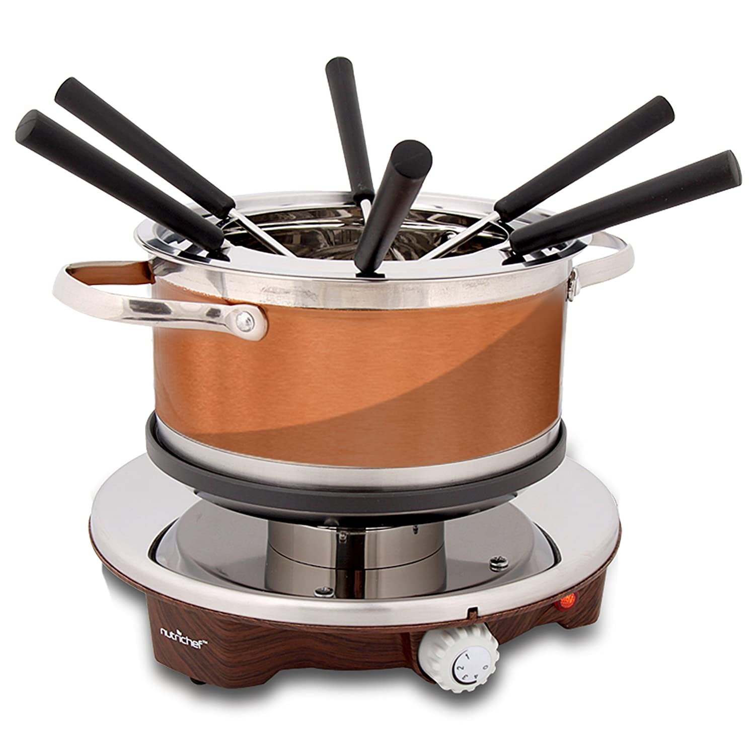 Electric Chocolate Fondue Maker Set - 1000W Warmer Machine Kit 1 Quart Nonstick Stainless Steel Melting Pot w/LED Light, 6 Dipping Forks, Melts Cheese Chocolate Candy Sauce Dip - NutriChef PKFNMK25 Sound Around