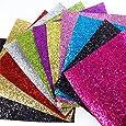 "11 pcs 8"" x 13"" (20cm x 34cm) Glitter Sequins Fabric Thick Canvas Back Craft DIY Craft Assorted Colours (11 Color)"