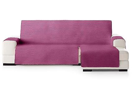 JM Textil Funda Cubre Sofá Chaise Longue Elena, Protector para Sofás Acolchado Brazo Derecho. Tamaño -275cm. Color Malva 02 (Visto DE Frente)