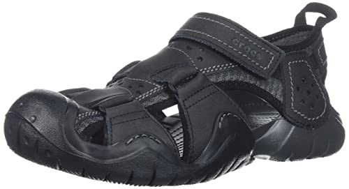 19b626573465f0 Crocs Men s Swiftwater™ Leather Fisherman-Choose Size Color Black Graphite