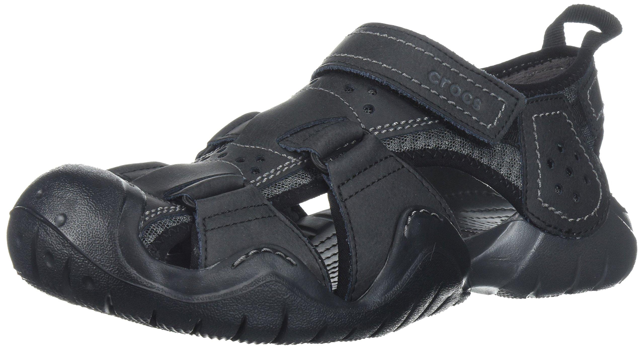 Crocs Men's Swiftwater Leather Fisherman M Flat Sandal, Black/Graphite, 9 M US