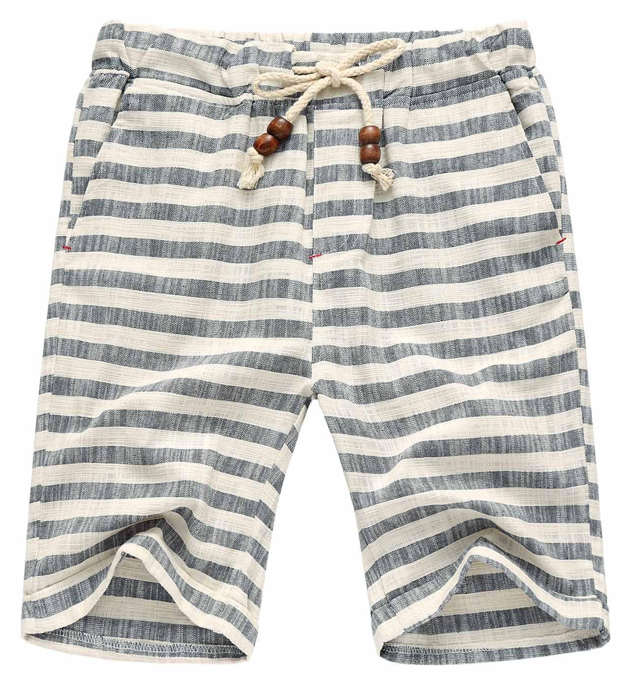 AIEOE Men Jogger Shorts Soft Comfortable Quick Drying Bathing Pool Swim Trunks Slant Pockets Drawstring 34 Stripe Grey
