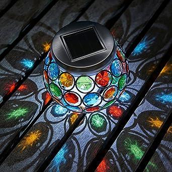 Auraglow Jardin Solaire Led D'extérieur Tablette Et Mosaïque À Lumière Centrale Manger Lampe OZTiPkXu