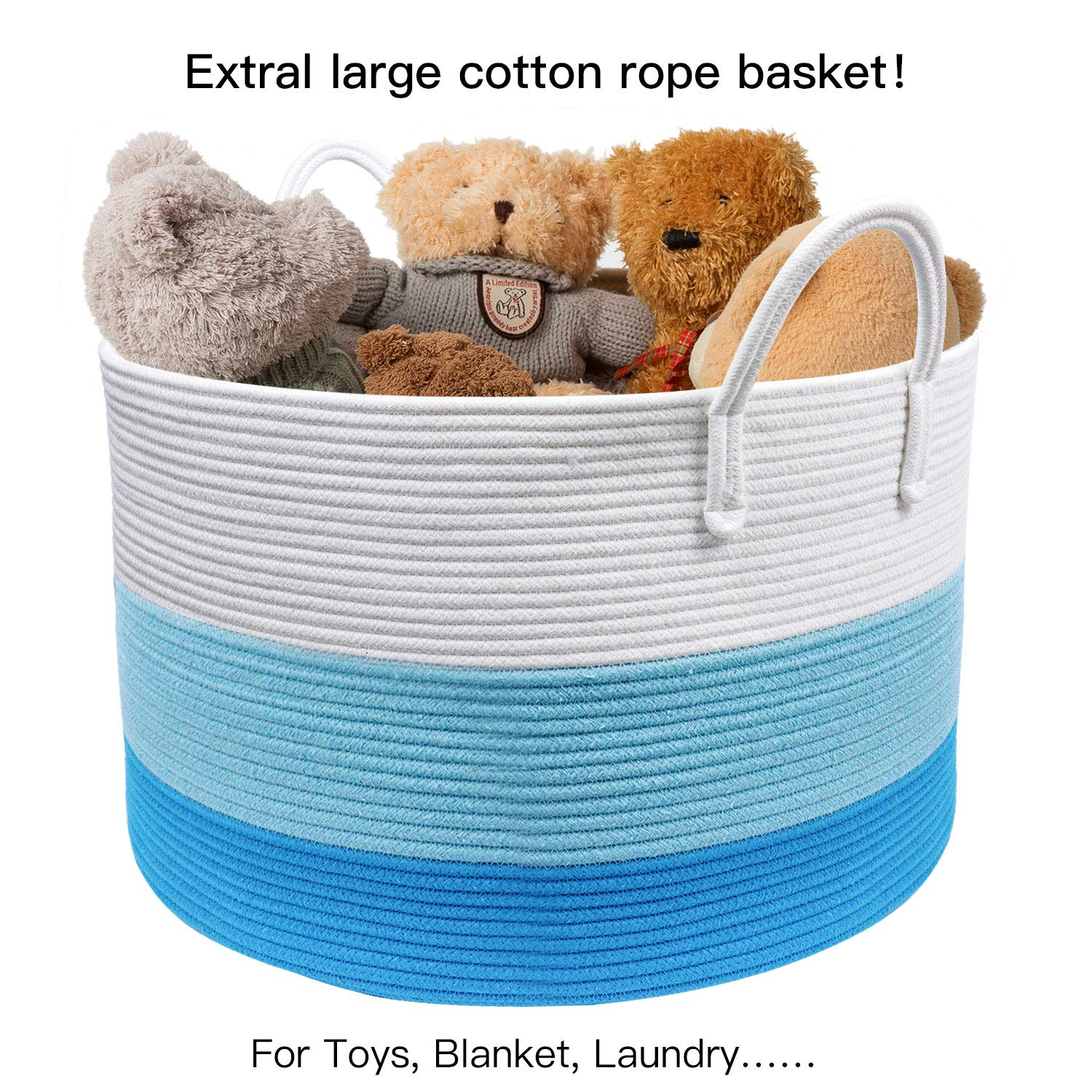 Wide 20 x 13.3 Blanket Storage Basket with Long Handles Decorative Clothes Hamper Basket Extra Large Baskets for Blankets Pillows or Laundry INDRESSME XXXLarge Pink Woven Rope Basket