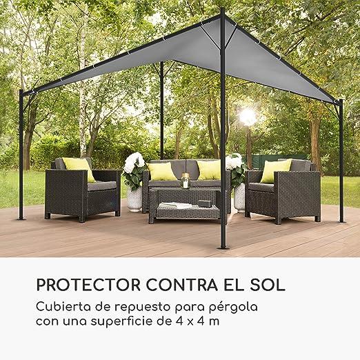 blumfeldt Sombra Pergola Techo de Recambio – Superficie de 4 x 4 m, Lona de poliéster de 180 g/cm², Concepto FlexMood, Gris: Amazon.es: Jardín