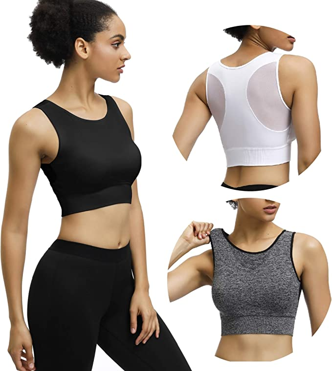 Eunicer 3 Pack Womens Racerback Sports Bras Medium/Low Impact Workout Yoga Sports Bras (3pack)