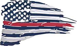 Metal American Flag Wall Decor - Red Line US Flag Metal Art Military Office Decor - America Decorations for Home Patriotic Metal Signs - Outdoor American Flag Steel Wall Decorations