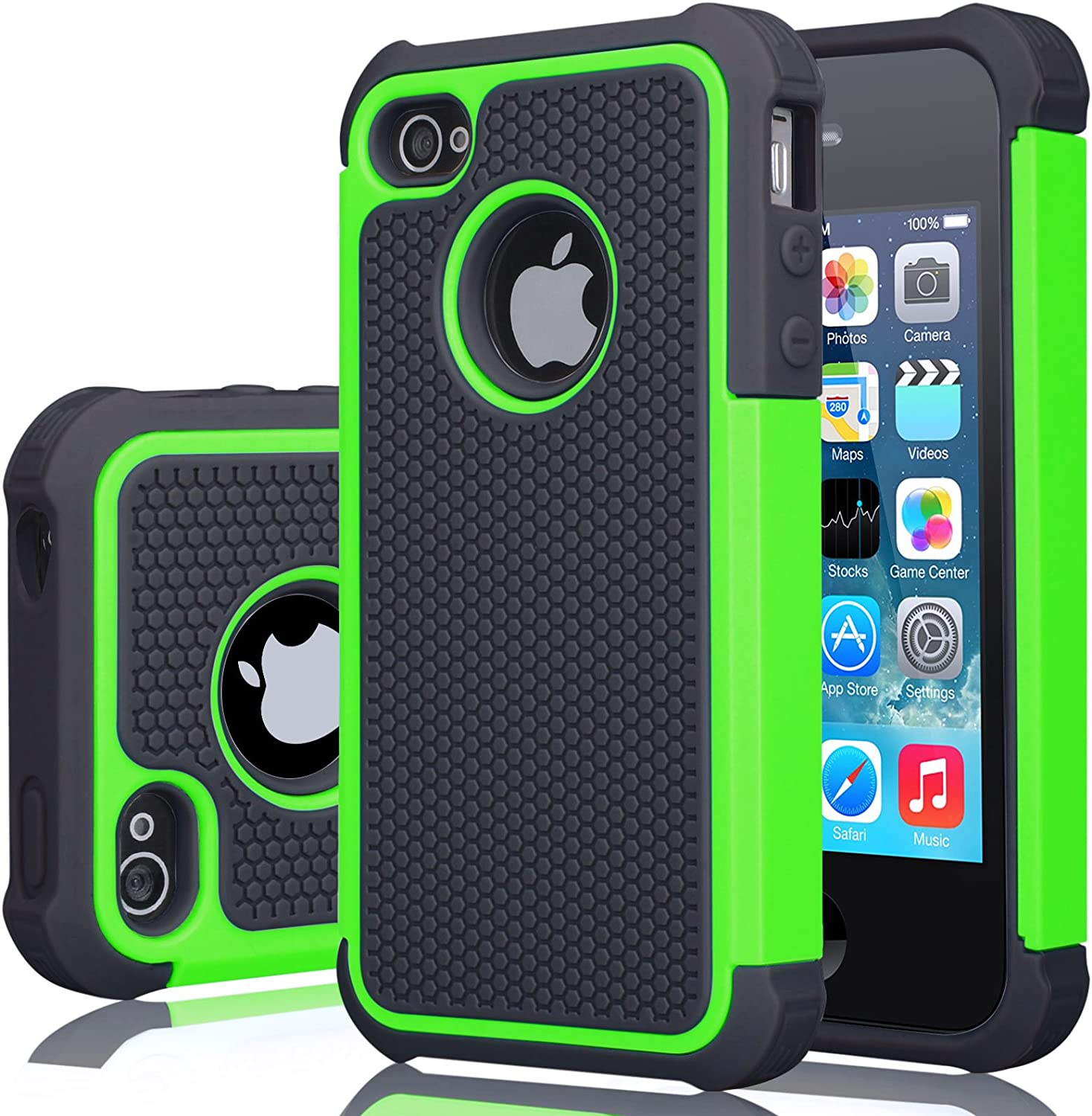 iPhone 4S Case, iPhone 4 Cover, Jeylly Shock Absorbing Hard Plastic Outer + Rubber Silicone Inner Scratch Defender Bumper Rugged Hard Case Cover for Apple iPhone 4/4S - Green