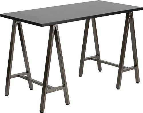 Flash Furniture Black Computer Desk with Brown Frame