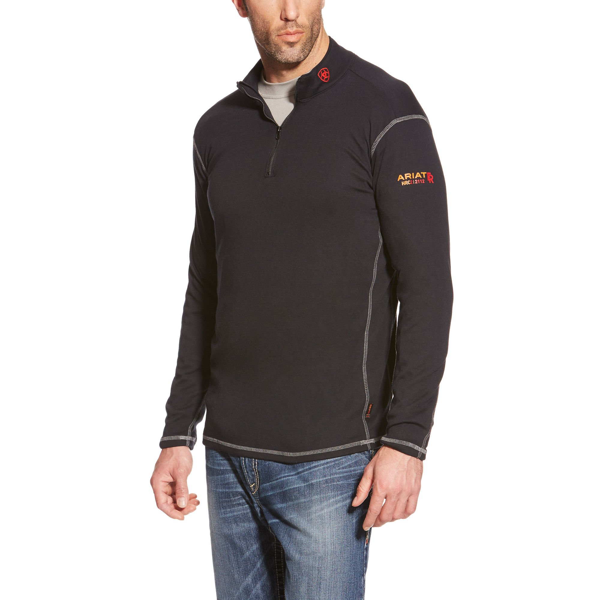Ariat Men's Big and Tall Flame Resistant Polartec 1/4 Zip Base Layer, Black, X-Large- Tall