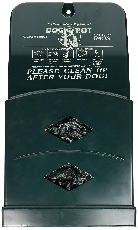 CDM product DOGIPOT 1007-2 Junior Bag Dispenser with Litter Bag Rolls, Polyethylene, Forest Green big image