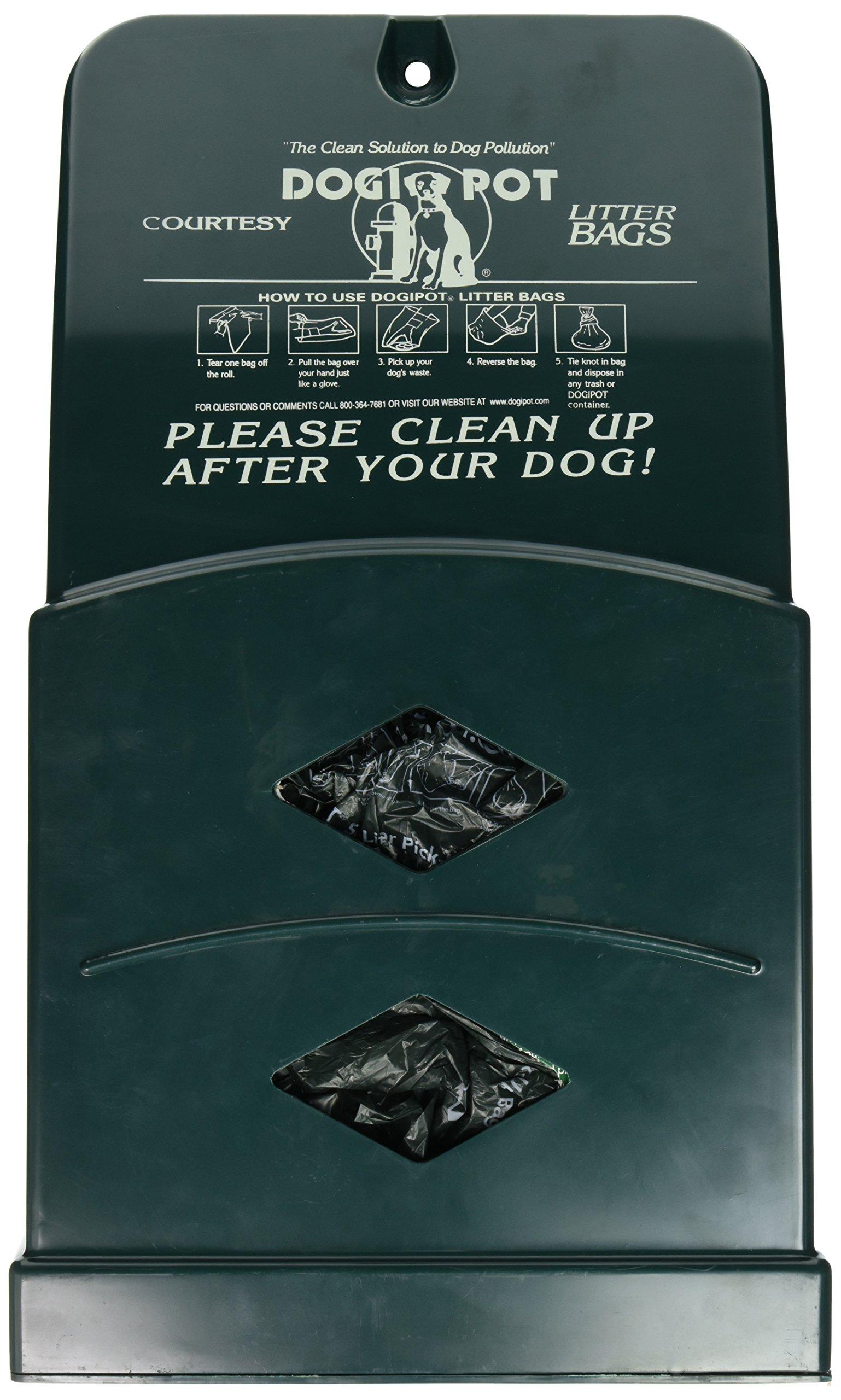 DOGIPOT 1007-2 Junior Bag Dispenser with Litter Bag Rolls, Polyethylene, Forest Green by Dogipot