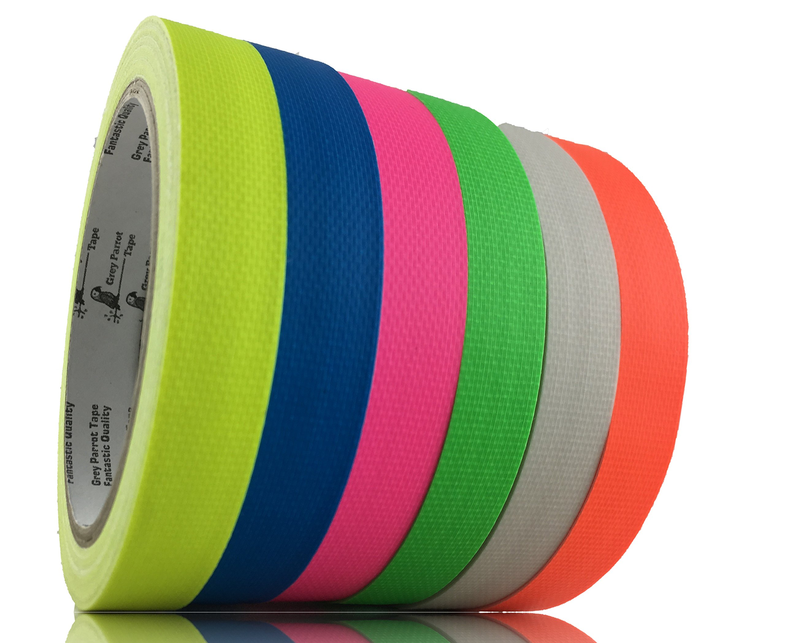 GreyParrot Tape UV Blacklight Reactive, (6 Pack)(1in x 50ft), Fluorescent Cloth Tape, 11.8mil Thickness