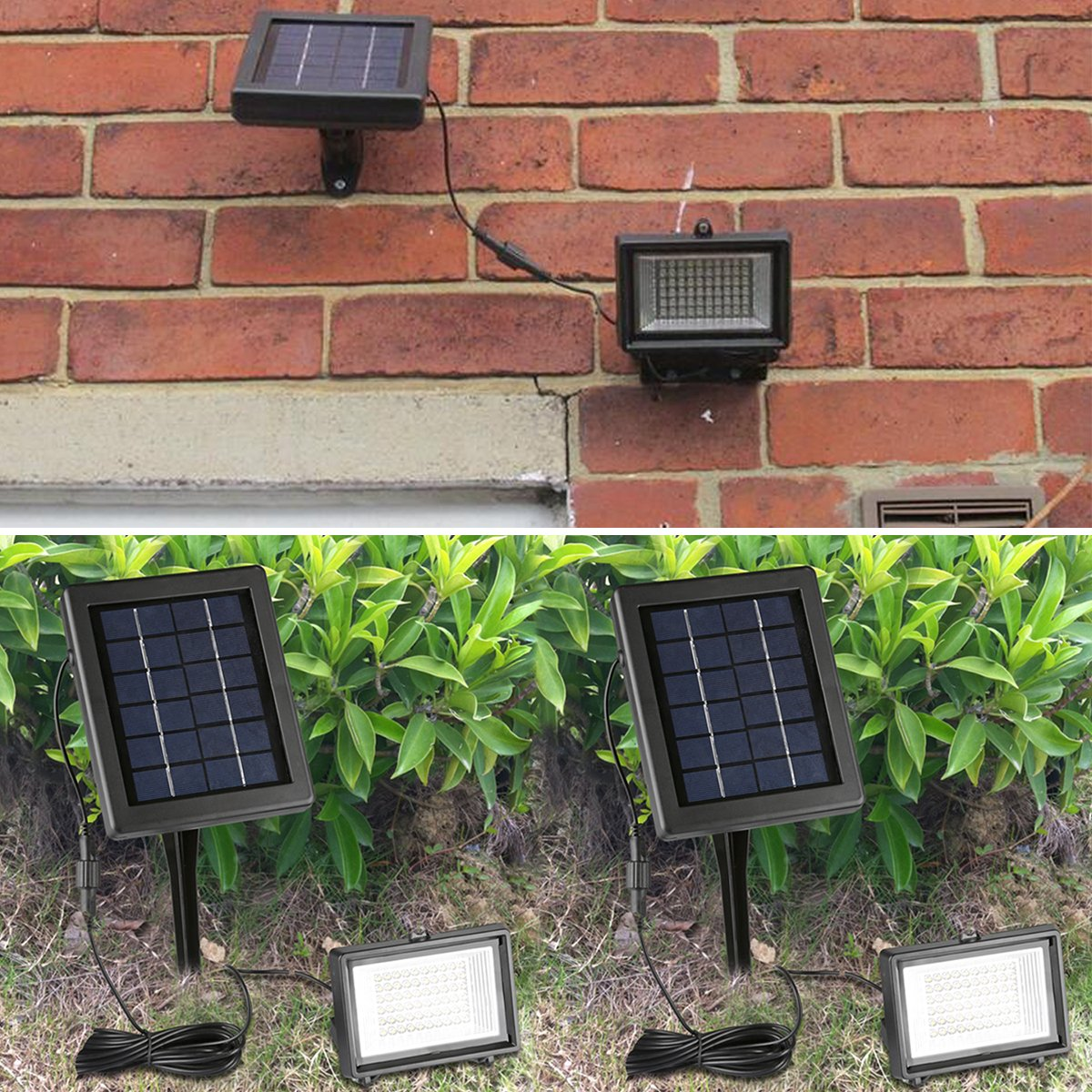 Findyouled Solar Flood Lights Outdoor Landscape Running Underground Electrical Wire On Garage Light Wiring Lighting 60led 120lumen Cast Aluminium Wall In Ground 2 1 Adjustable With A 164ft Cable